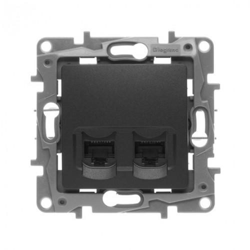 Розетка компьютерная (2 порта) антрацит Legrand Etika (672655)