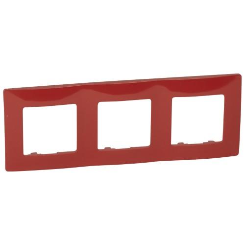 Рамка 3 поста красная Legrand Etika (672533)