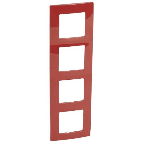 Рамка 4 поста красная Legrand Etika (672534)