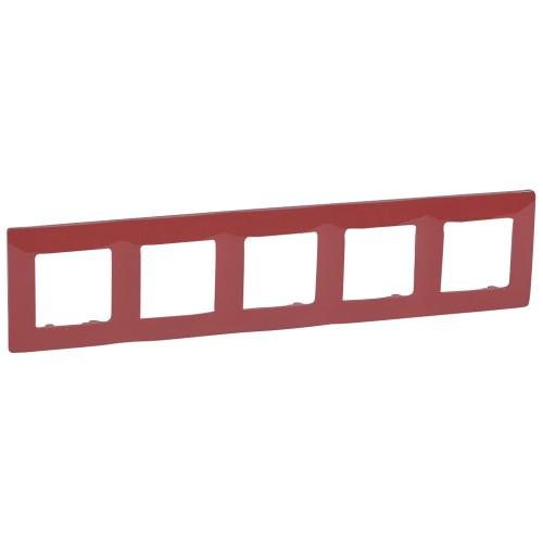 Рамка 5 постов красная Legrand Etika (672535)