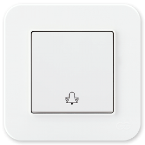 Кнопка звонка белая (без рамки) Gunsan Radius (01409300-150111)