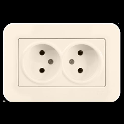 Двойная розетка кремовая Gunsan Radius (01371200-100149)