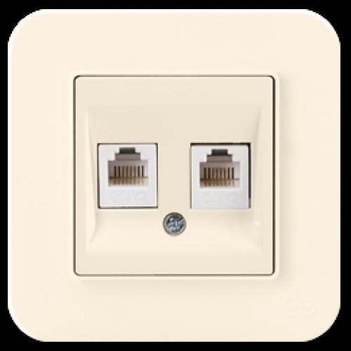 Розетка ТЛФ двойная  (без рамки) кремовая Gunsan Radius (01401200-157121)