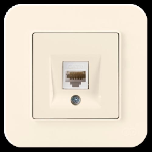 Розетка компьютерная (без рамки) кремовая Gunsan Radius (01401200-157130)
