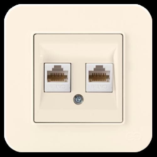 Розетка компьютерная (2 порта) кремовая Gunsan Radius (01401200-157332)