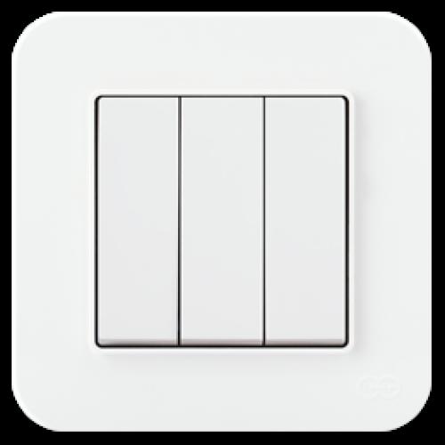 Выключатель 3-кл (без рамки) белый Gunsan Radius (01409300-150160)