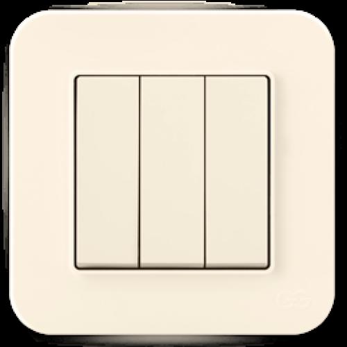 Выключатель 3-кл (без рамки) кремовый Gunsan Radius (01401200-150160)
