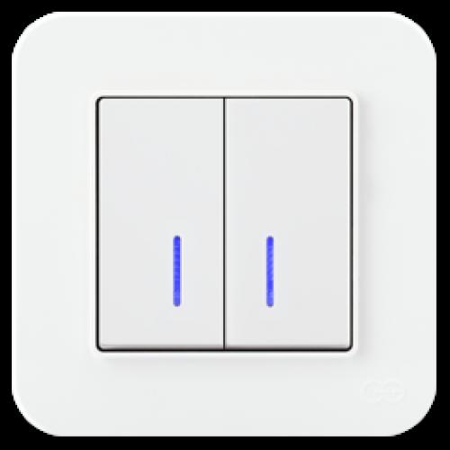 Выключатель 2-кл с индикацией (без рамки) белый Gunsan Radius (01409300-150104)