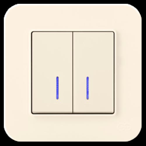 Выключатель 2-кл с индикацией (без рамки) кремовый Gunsan Radius (01401200-150104)