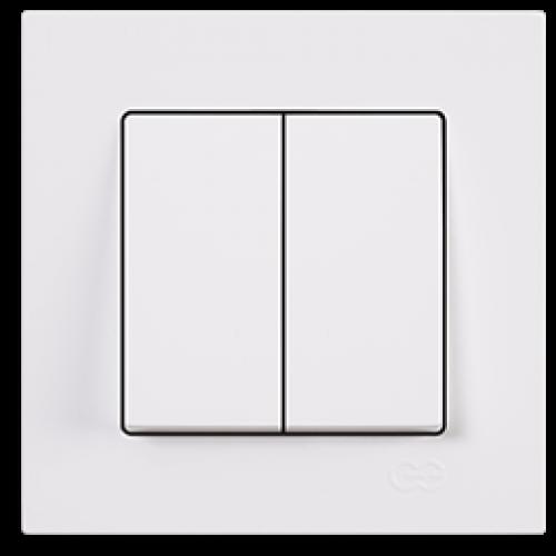 Выключатель 2-кл (без рамки) белый Gunsan Eqona (01409300-150103)