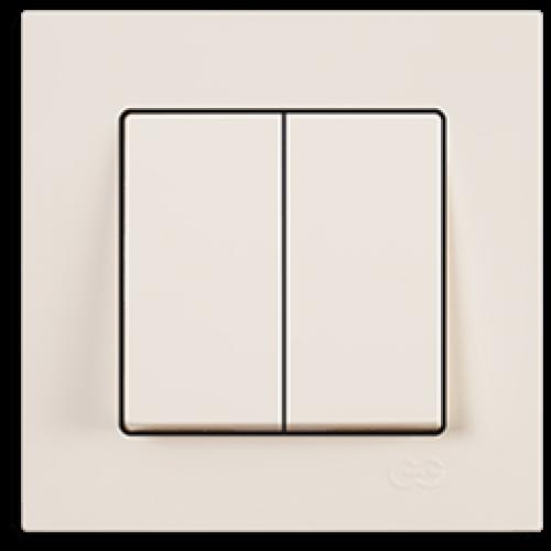 Выключатель 2-кл (без рамки) кремовый Gunsan Eqona (01401200-150103)