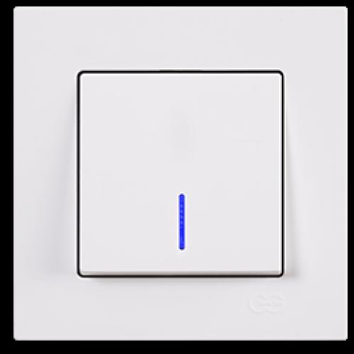 Выключатель 1-кл с индикацией (без рамки) белый Gunsan Eqona (01409300-150102)
