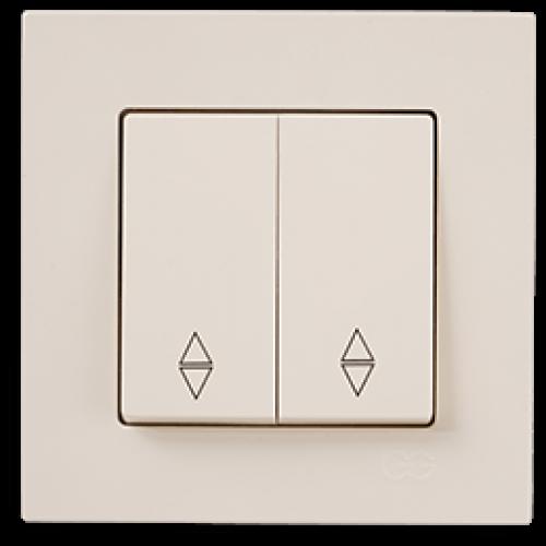 Выключатель 2-кл проходной (без рамки) кремовый  Gunsan Eqona (01401200-150109)