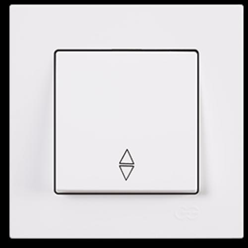 Выключатель 1-кл проходной (без рамки) белый Gunsan Eqona (01409300-150107)