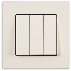 Выключатель 3-кл (без рамки) кремовый
