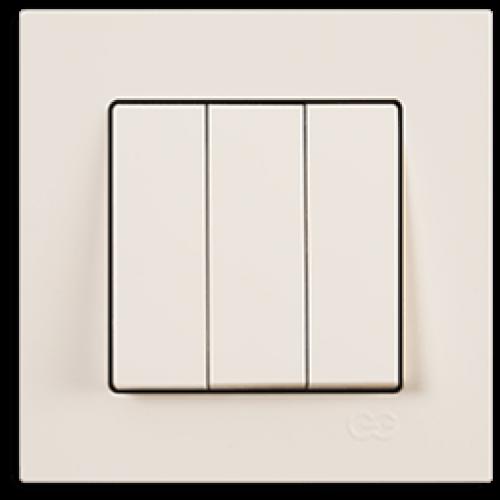 Выключатель 3-кл (без рамки) кремовый Gunsan Eqona (01401200-150160)
