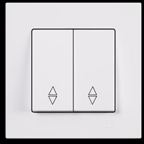 Выключатель 2-кл проходной (без рамки) белый  Gunsan Eqona (01409300-150109)