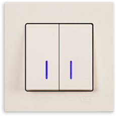 Выключатель 2-кл с индикацией (без рамки) кремовый