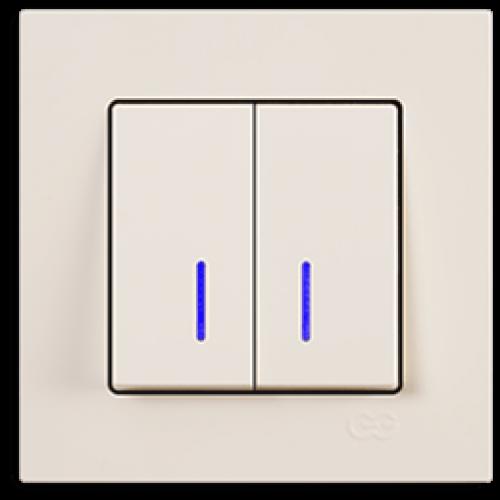 Выключатель 2-кл с индикацией (без рамки) кремовый Gunsan Eqona (01401200-150104)