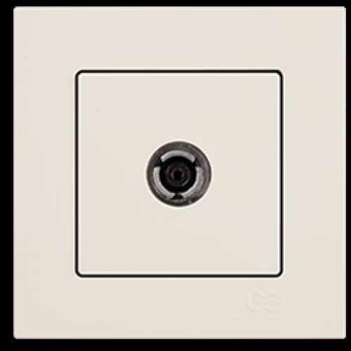 Розетка ТВ (без рамки) кремовая Gunsan Eqona (01401200-159122)
