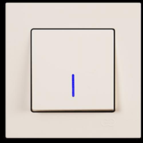 Выключатель 1-кл с индикацией (без рамки) кремовый Gunsan Eqona (01401200-150102)