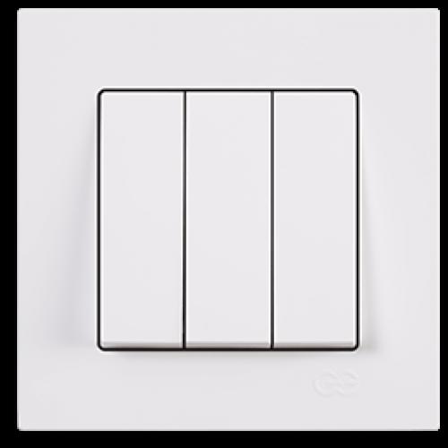 Выключатель 3-кл (без рамки) белый Gunsan Eqona (01409300-150160)