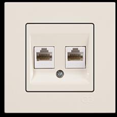 Розетка компьютерная (2 порта) кремовый