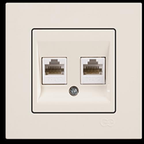 Розетка компьютерная (2 порта) (без рамки) кремовая Gunsan Eqona (01401200-157332)