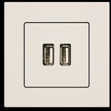 Розетка USB кремовая