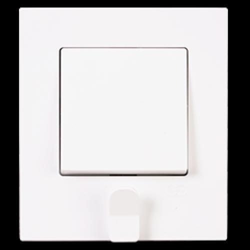 Выключатель 1-кл с держателем для ключей (в сборе) белый Gunsan Eqona original (01401104-100101)