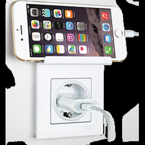 Розетка с/з с подставкой для телефона (в сборе) белая Gunsan Eqona original (01401102-100115)