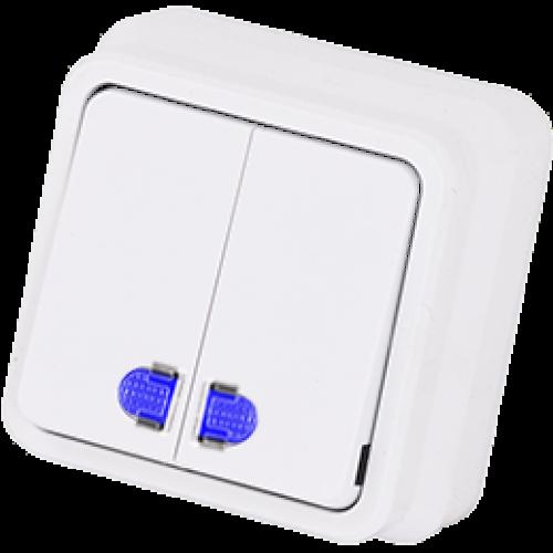 Выключатель 2-кл с индикацией белый Gunsan Misya (01 05 11 00 100 104)
