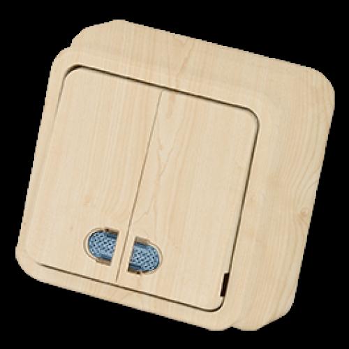 Выключатель 2-кл с индикацией клён Gunsan Misya (01052300-100104)