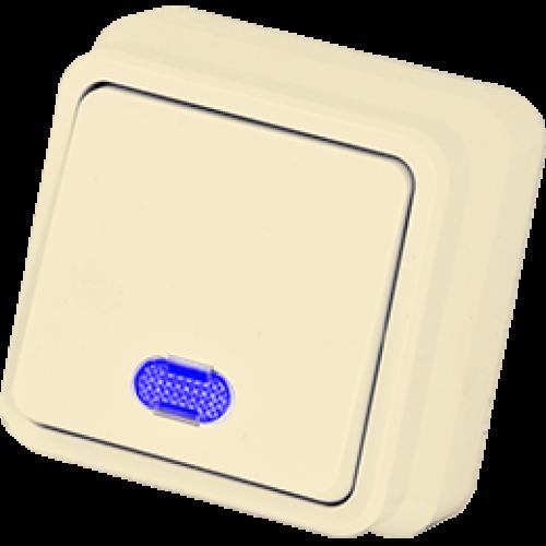 Выключатель 1-кл с индикацией кремовый Gunsan Misya ( 01 05 12 00 100 102)