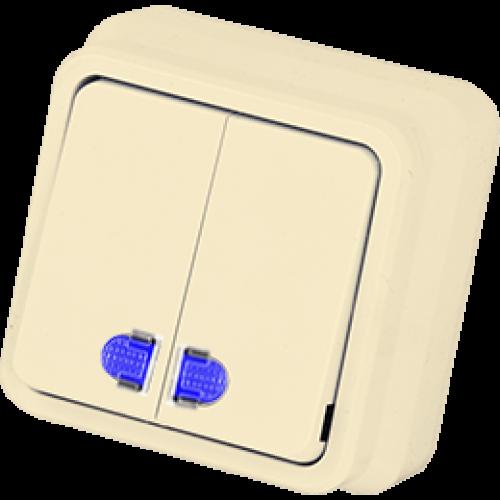 Выключатель 2-кл с индикацией кремовый Gunsan Misya (01 05 12 00 100 104)