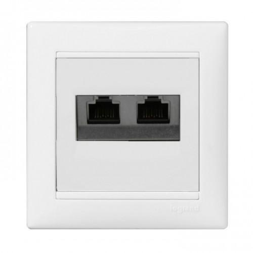 Розетка интернет (2 порта) CAT5E белая (без рамки) Legrand Valena Classic (774239)