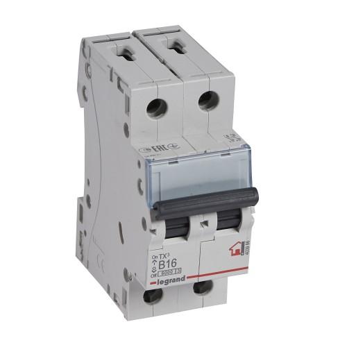 Автоматический выключатель 2P 16A хар-ка B 6kA Legrand ТХ3 (403986)