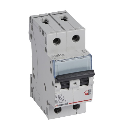 Автоматический выключатель 2P 25A хар-ка B 6kA Legrand ТХ3 (403988)
