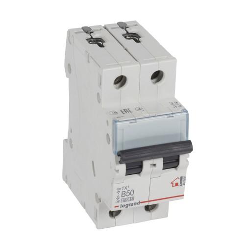 Автоматический выключатель 2P 50A хар-ка B 6kA Legrand ТХ3 (403991)