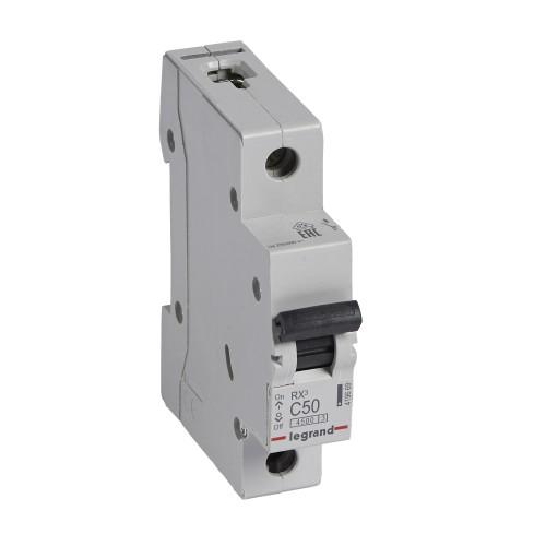 Автоматический выключатель 1P 50A хар-ка C 4,5kA  Legrand RX3 (419669)