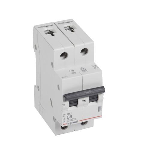 Автоматический выключатель 2P 6A хар-ка C 4,5kA Legrand RX3 (419694)