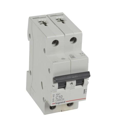 Автоматический выключатель 2P 10A хар-ка C 4,5kA Legrand RX3 (419695)