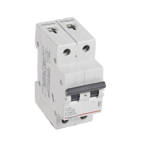 Автоматический выключатель 2P 20A хар-ка C 4,5kA Legrand RX3 (419698)