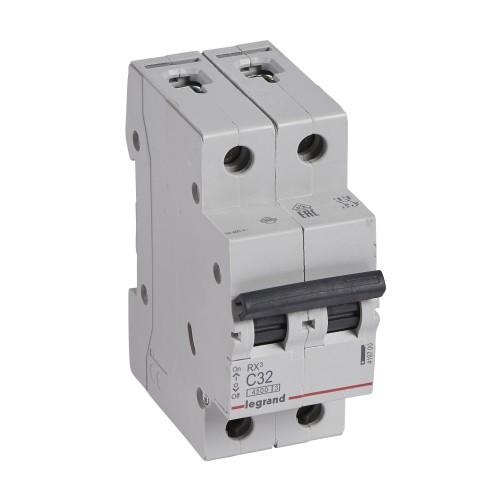 Автоматический выключатель 2P 32A хар-ка C 4,5kA Legrand RX3 (419700)