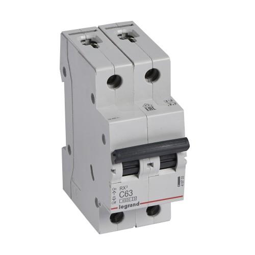 Автоматический выключатель 2P 63A хар-ка C 4,5kA Legrand RX3 (419703)
