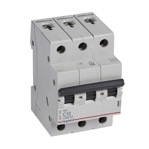 Автоматический выключатель 3P 10A хар-ка C 4,5kA Legrand RX3 (419706)