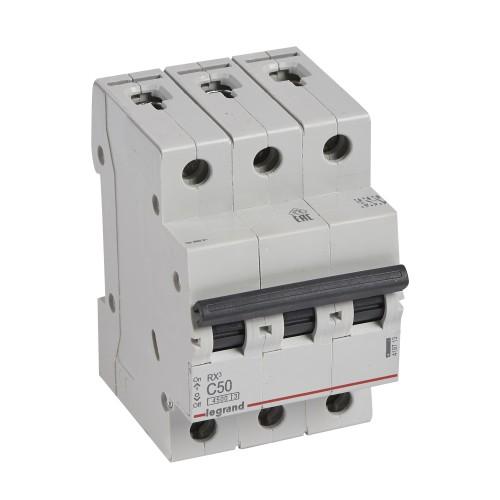 Автоматический выключатель 3P 50A хар-ка C 4,5kA Legrand RX3 (419713)