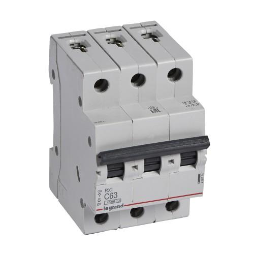 Автоматический выключатель 3P 63A хар-ка C 4,5kA Legrand RX3 (419714)