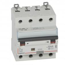 Дифференциальный автомат электромеханический 4P 10A хар-ка C 6kA 30mA тип AC