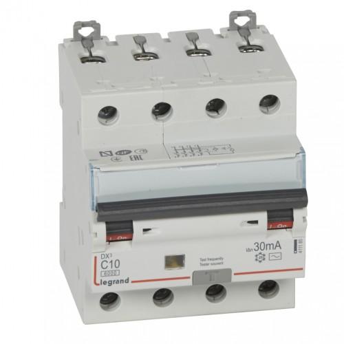 Дифференциальный автомат электромеханический 4P 10A хар-ка C 6kA 30mA тип AC Legrand DX3 (411185)